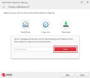 Send - Trend Micro Maximum Security on another device