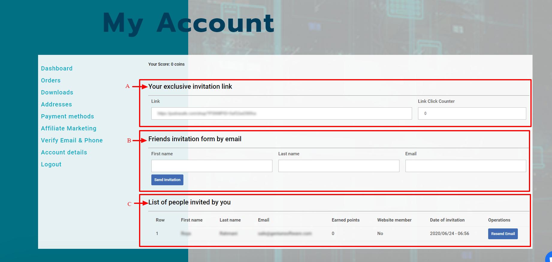 Affiliate Marketing Program screenshot