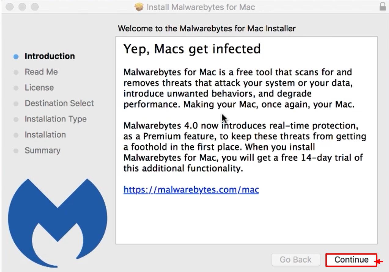 Install and Activate Malwarebytes for Mac v4 - continue