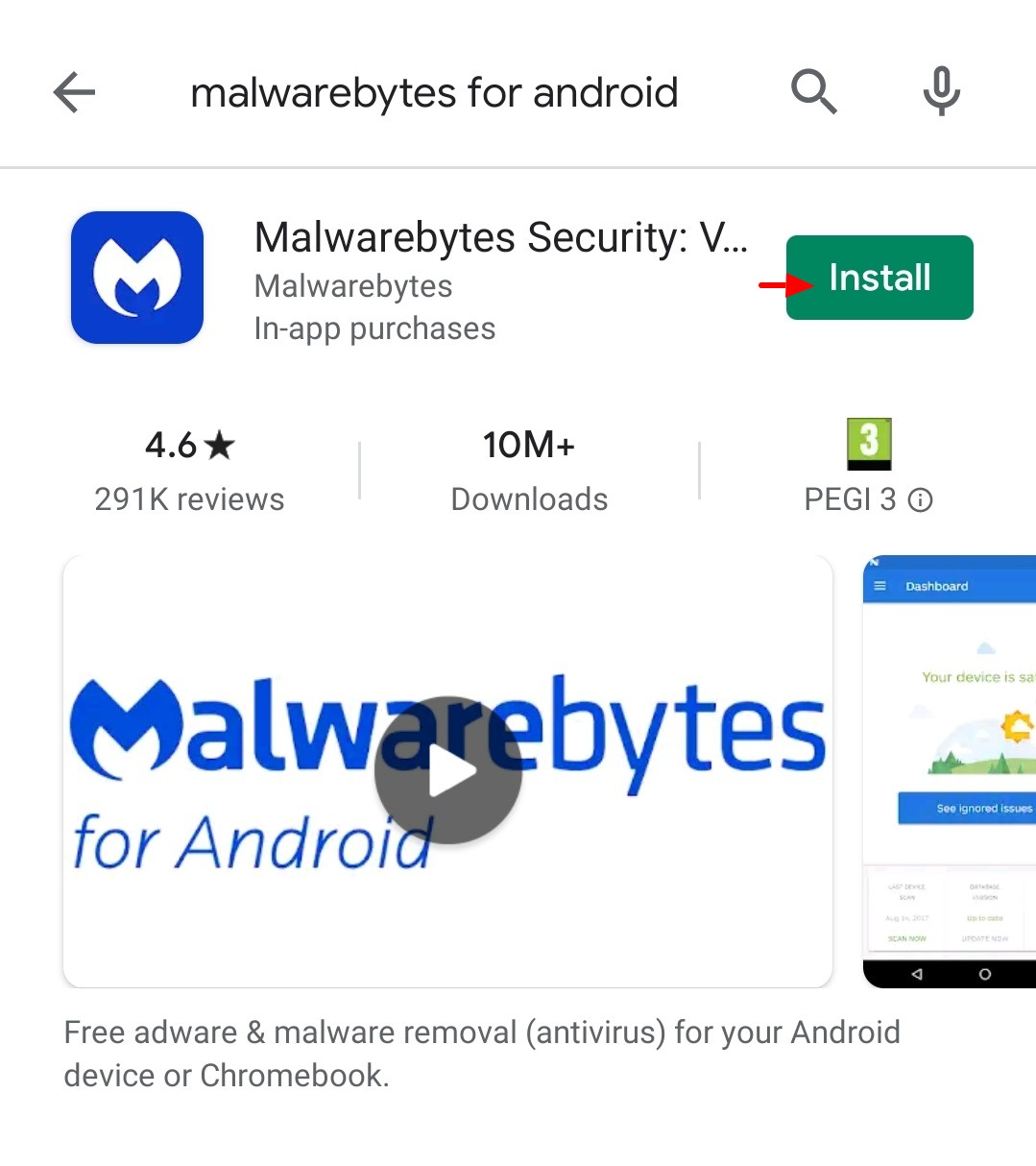 Malwarebytes for Android device 1