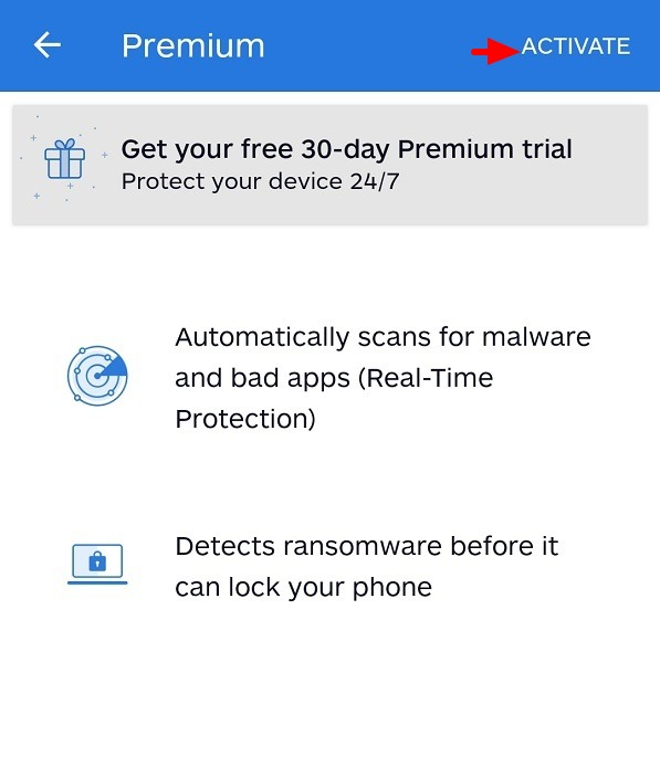 Malwarebytes for Android device 11