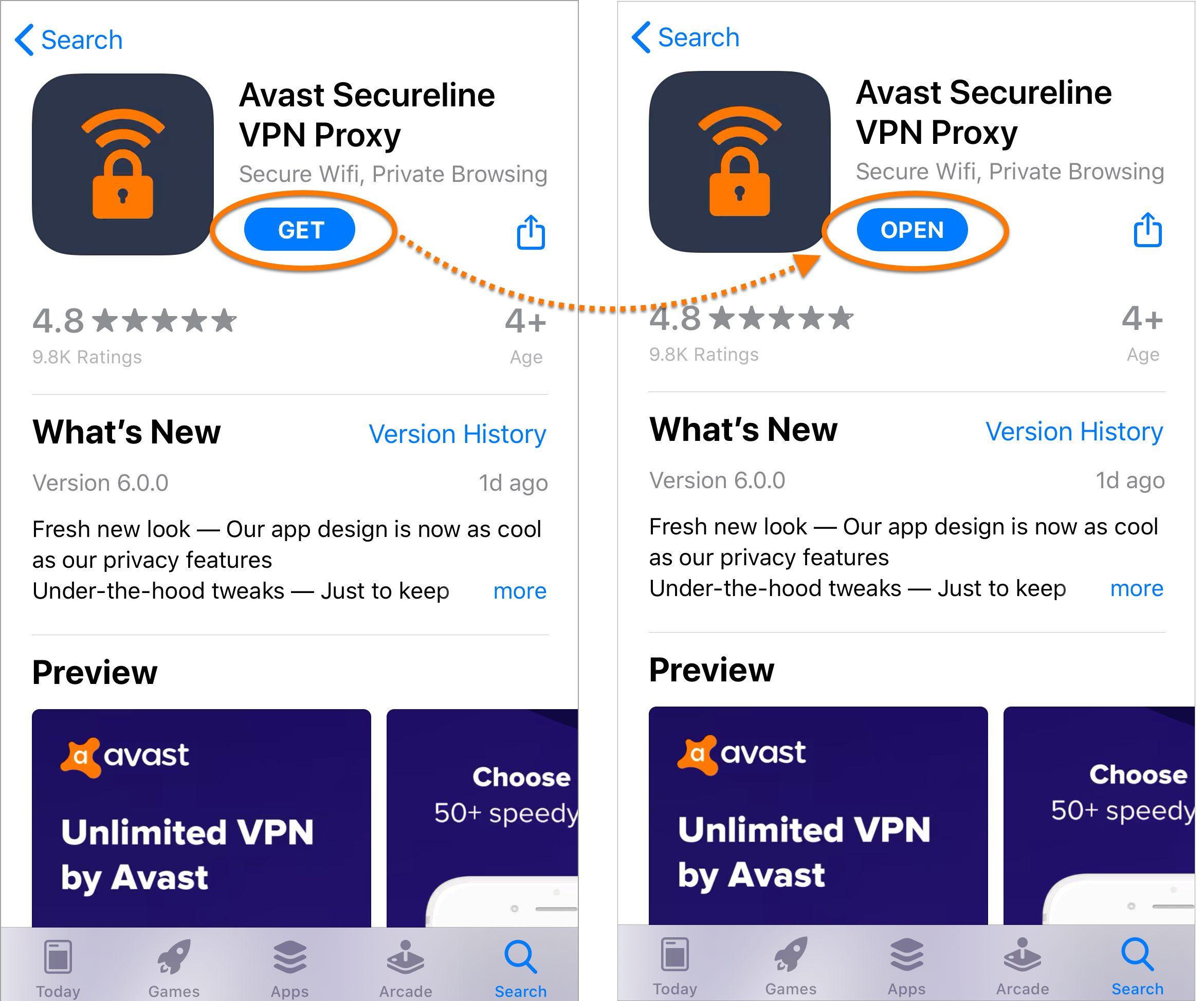 Avast SecureLine VPN - iPhone