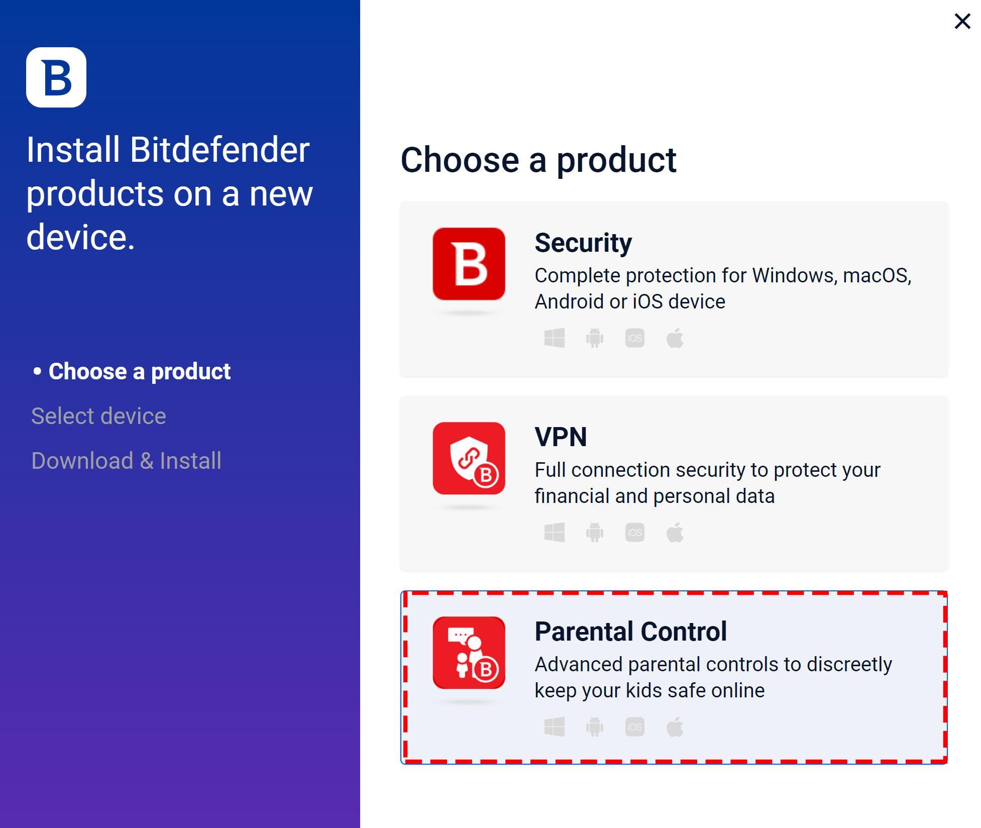 Bitdefender Parental Control on Windows - Choose