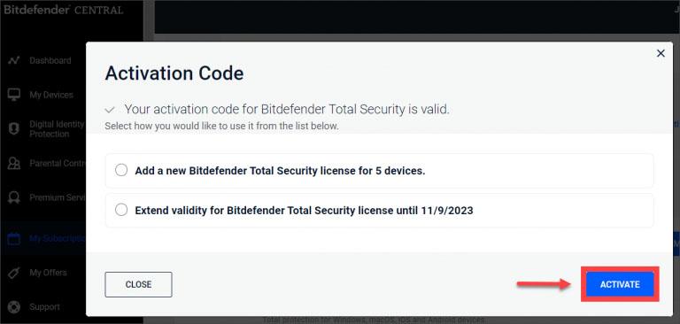 activating Bitdefender Subscription - 2