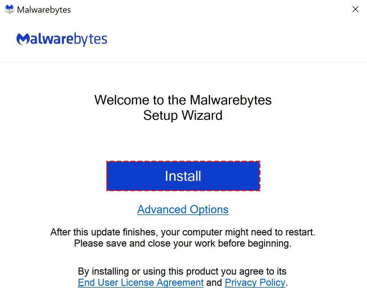 Malwarebytes for Windows - install