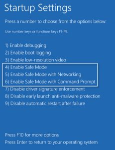 Start your PC in safe mode -f5